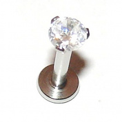 Clear 3mm Prong Set Crystal - 1.2mm x 8mm Labret Stud - For Helix, Tragus, Lip Piercings - Pierced & Modified Body Jewellery