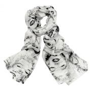 JewelryWe Lightweight NEW Women's Gauzy Marilyn Monroe Print Long Chiffon Scarf Wrap Shawl