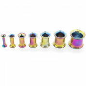 Set of Double Flared Tunnel Plugs 2,3,4,5,6,8,10mm Stainless Steel to Screw Rainbow
