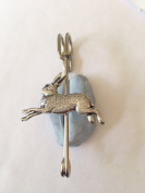 "A2 Hare kilt pin Scarf or Brooch pin pewter emblem 3"" 7.5 cm handmade in sheffield"