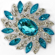 Elixir77UK STUNNING NEW 7.1cm LARGE SILVER COLOUR FLOWER BROOCH with BLUE and PLAIN DIAMANTE RHINESTONE CRYSTALS BROACH