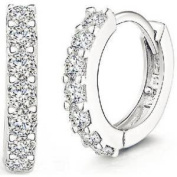 925 Sterling Silver Rhinestone Hoop Earrings