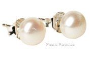 Cultured Freshwater White Pearl Silver (925) Stud earrings, presented in an attractive satin silk pouch with a gift card