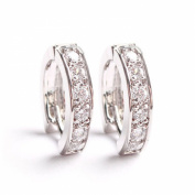 Yazilind Dazzling Rhodium Plated Clear Round Cut Flawless Cubic Zirconia Claw Small Hoop Earrings