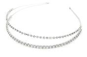 Demarkt Women/Girl Crystal Diamond 2 Rows Headband Shining Decorative Hairband Hairpin Great Gift- Silver