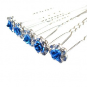 Jewellery of Lords 10 Clear Czech Crystal Blue Metal Rose Flower Wedding Bridal Bride Prom Hair Bobby Pin