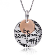"ELBONTEK Two-Tone 925 Sterling Silver ""Be"" Graffiti Charm Pendant Necklace,46cm - Unisex"