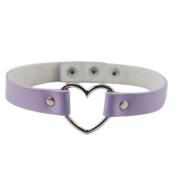 Sanwood® Fashion Women Men Cool Punk Goth Rivet Heart-Shape Ring Leather Collar Choker Necklace