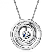 "Mothers Day Gifts MARENJA Gifts For Mum- Boundless Love Engraved with ""Mum,Thank you for all you do."" and ""I love you Mum"" Transparent Inlaid Austrian Crystal White Gold Plated 3 Interlinked Rings Pendant Exclusive Design Chain Length 40-45cm/15.7-17.7in"
