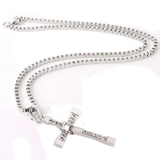 TRIXES Mens Silver Diamante Cross Pendant Chain Necklace