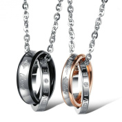 """His & Hers Couple Stainless Steel Necklace Engraved """"forever love """" Rings Pendant"""