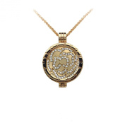 I Love You Always 33mm Interchangeable Gold Plated Locket Pendant Medallion Holder with Coin Moneda Disc with Crystals compatible with Mi Moneda, Virtue, Emozioni Hot Diamonds, Mi iMenso and Lucet Coins and Pendants