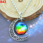 Unique Design Crescent Moon Galaxy Universe Glass Cabochon Pendant Necklace Christmas Gifts