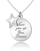 """Tuscany Silver 'Never Give Up on Your Dreams' Star and Disc Pendant on Chain Necklace 46cm/18"""""""