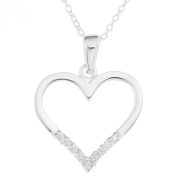 Ornami Sterling Silver CZ Heart Pendant on 46cm Chain