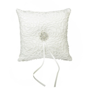 Wedding Ring Pillow Cushion Bearer Satin Rhinestone Flower 15 x 15cm Ivory