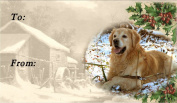 Golden Retriever Dog No. 1. Christmas Labels (42) - Self Adhesive