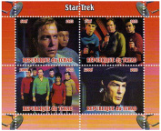 Star Trek stamps - From the original series with Kirk and Spock - 4 stamps. Mint and never mounted stamp sheet
