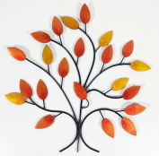 Contemporary Metal Wall Art Decor Sculpture - Golden Autumn Tree Branch