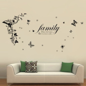 Walplus WS5036 Butterflies Vine Plus WS3023 Family Quotes Wall Sticker Combo Pack, Multi-Colour
