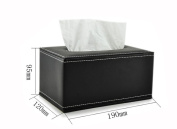 [Solid Classic] Leather Rectangle Random Carton and Tissue Paper Holder Black