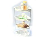 White 4 Tier Bathroom Free Standing Shower Corner Caddy Tidy Organiser Shelves