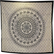BLACK AND WHITE MANDALA ELEPHANT WALL ART DOUBLE KING BEDSPREAD BACKDROP WALL HANGING TAPESTRY THROW DECOR