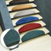 casa pura® Stair Tread Mats Leipzig, Blue, 15 Piece Set (23 x 65 cm) - Multiple Colours   Durable, Non-slip, Protection