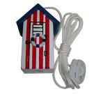 Red Blue & White Nautical Seaside Beach Hut Light Pull