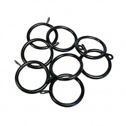 Emma Barclay 35 - 45mm Metal Curtain Rings, Black, 8 Pack