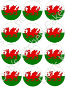 Welsh Flag / St David's Day Cupcke Toppers - Edible Wafer 4cm x 24 by Deb's Kitchen Cakes