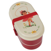 Bento Box with Fork and Spoon Vintage Girl Design