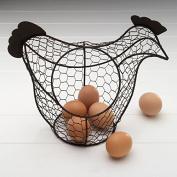 Vintage Shabby Chic Wire Chicken Hen Shaped Egg Basket.