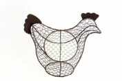 SHABBY CHIC CHARCOAL WIRE CHICKEN EGG BASKET