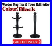 Black Wooden Kitchen 6 Mug Tree Holder And Towel Roll Holder Stand Rack New