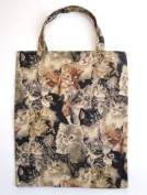 Handy Tote Tapestry (small) Shopping Bag (Gobelin Style) Cats