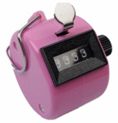 Hand Held Tally Counter 4 Digit Mechanical Palm Clicker Counter,Pink