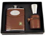 Brown Leather Flask With Engraveable Silver Plate + Stainless Steel Cups