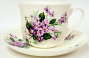 Sweet Violets Breakfast Cup & Saucer Violets Fine Bone China Large Cup & Saucer Hand Decorated in the U.K. Free UK Delivery