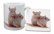 Silver Blue Rats Mug and Table Coaster, Ref:RAT-1MC