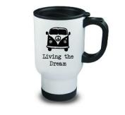 Living the Dream Metal Travel Mug Camper Van Camping Black Hobby Novelty Gift