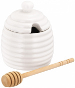 Judge White Beehive Shaped Honey Drizzle Pot Storage Jar