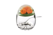 Epicurean Europe 11 x 8.5 cm Acrylic SAN Jampot and Spoon with Orange Design in Lid, Clear