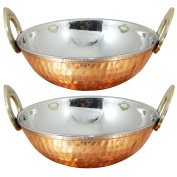 Set of 2, Copper Stainless Steel Hammered Serveware Karahi Pan Bowls for Vegetable and Curries, Diameter 13 Cm