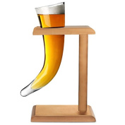 Viking Beer Horn Glass with Stand 17oz / 480ml | Viking Horn Glass, Novelty Beer Glass, Drinking Horn