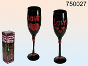 Black Champagne Glass / Flute with Glitter Hearts and Red Diamante Love - Only ONE supplied