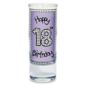 Lilac 18th Happy Birthday Shot Drinking Glass Present Gift Glasses