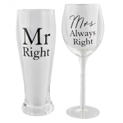 Amore Mr Right and Mrs Always Right by Amore Pint & Wine Glass Gift Set