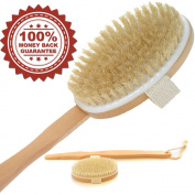 ? SALE. Bath Body Brush with Natural Bristles Exfoliating Dry Skin, Cellulite Massager Shower Brushing. Extension Long Handle for Back Scrubber, Detachable Hand Grip Handle with Strap