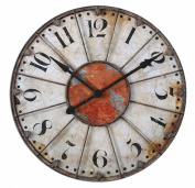 Uttermost 70cm Ellsworth Clock Crackled Ivory With Rust Red Accent And Rustic Bronze Metal Details